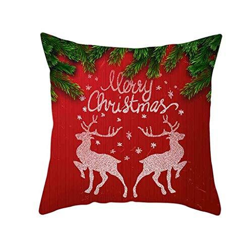 Fenverk Kissenbezug,Weihnachten Deko Merry Christmas weich Quadrat 45 x 45cm Dekokissen kissenhülle Home Decor Büro Mall Fenster Familie Weihnachtsdekoration