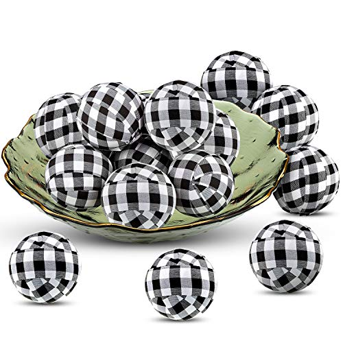 Christmas Buffalo Check Balls Plaid Fabric Wrapped Balls 1.57 Inch Thanksgiving Gingham Bowl Fillers for Christmas Holiday Farmhouse Home Party Decoration Favors (10 Pieces)