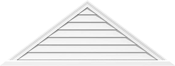 Pitch Ekena Millwork GVPTR44X1303SF Triangle Surface Mount PVC Gable Vent Factory Primed White 7//12-44 W x 12.875 H Inch