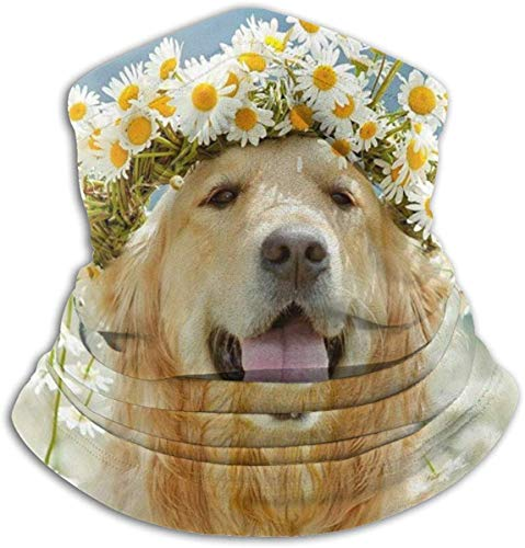 hgbygvuy Neck Gaiter Scarf Golden Retriever Dog Lovely Wreath Versatile Sports & Casual Headwear Neck Warmer, As A Bandana, Balaclava