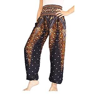 Banjamath hippy con texto harén Smocked Women's Yoga cintura diseño floral con diseño de flores para coser pantalones… | DeHippies.com