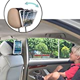 TFY Universal Car Headrest Mount Holder with Angle- Adjustable Holding Clamp for Tablets