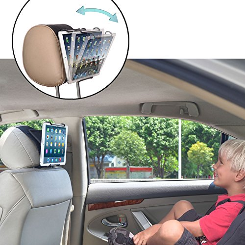 TFY Universal-Kopfstützen-Halterung für Tablet-PCs mit Winkel, verstellbare Halteklammer für Tablets wie iPad 2/3/4, iPad Mini, iPad Air, iPad Pro, Samsung Galaxy Tab S2, Tab A & mehr