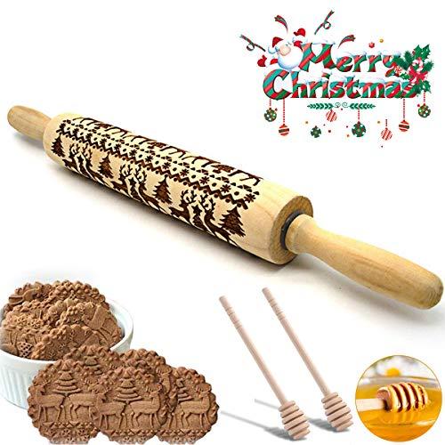 Jestool Nudelholz Holz, Weihnachten Geschenke Teigroller Nudelholz Rentier Graviertes geschnitztes Holz geprägt zum Backen geprägt Cookies Fondant Teig Keks mit 2pcs Honig Dipper Stick, 43cm