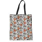 HUGS IDEA - Bolsa de lona para mujer, diseño de perros, color, talla M