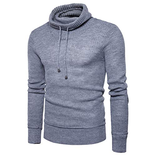 Sweater Men Knit Tops Men Warm Comfortable Fashion Slim Drawstring Men Tops Autumn and Winter New Pure Color Simple Business Casual Men Tops Fashion Men's Clothing B-Gray XL