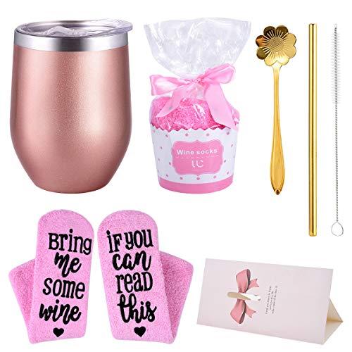 Weinbecher Edelstahl + Cupcake Weinsocken Vakuumisolierte stammlose Weingläser Ideales Geburtstagsgeschenk für Frauen, Mutter, Frau, Freundinnen