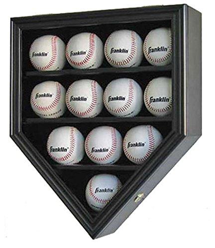 12 Baseball Display Case Wall Cabinet Shadow Box, UV Protection Door, B12(UV) (Black Finish)