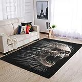 YOUYO Spark Alfombra Crazy Skull antideslizante - Duradera alfombra para puertas exteriores, color blanco 50 x 80 cm
