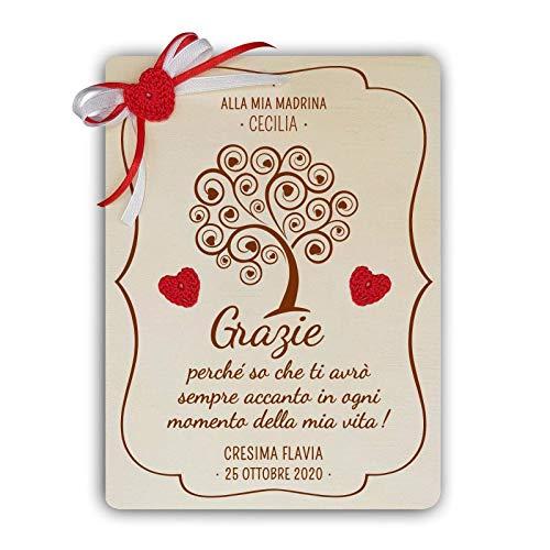 Crociedelizie, targa albero della vita targhetta ricordo madrina padrino battesimo cresima idea regalo ringraziamento personalizzata personalizzabile completa di scatola regalo in omaggio