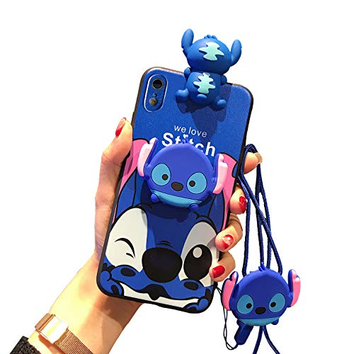 iPhone XR Stitch Case 6.1' for Kids Girls, Cute 3D Cartoon Animal Character Case Cover for Apple iPhone XR with Holder Lanyard Doll