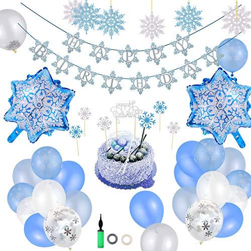 ECHOAN Copo Nieve Fiesta Cumpleaños Decoración Frozen Guirnalda de Globos Decoración,con Bombas de Globo Niñas Niños Suministros de cumpleaños Invierno Nieve Tema Decoración de año Nuevo