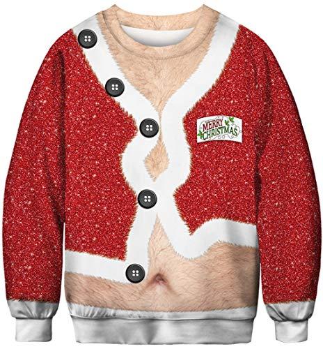 FLYCHEN Sudadera de Navidad Mujer Sin Capucha Impreso Funny 3D Christmas Colorido Divertido Sudaderas Cuello Redondo Azar Ugly botón 026 - M