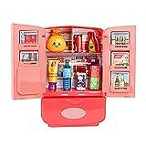 Ruby569y Juguetes de juego de simulación, miniatura de doble puerta refrigerador niños pretender jugar casa juguete regalo - rosa
