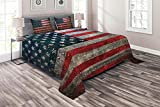 Ambesonne American Flag Coverlet, Royalty Flag Textured US Backdrop on Damaged Board Plate Design Artwork Print, 3 Piece Decorative Quilted Bedspread Set with 2 Pillow Shams, Queen Size, Red Grey