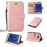 SZYT Móviles funda para Samsung Galaxy Core Prime G360 / Samsung Galaxy Prevail LTE, Modelo en relieve de elefante Función de Billetera case de teléfono Con la correa de la manija y la ranura para tarjeta, Oro