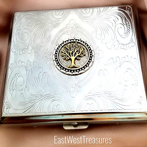 Celtic Tree of Life Vintage Metal Cigarette Case Wallet Credit Card holder-Wisdom Tree gifts for men women