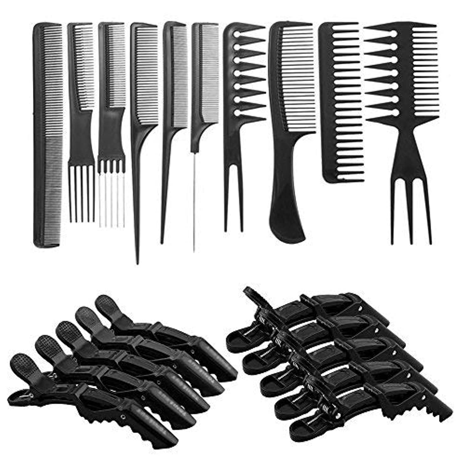 ヨーグルト博物館フラップ10 Pcs Professional Hair Styling Comb Set with Styling Clips [並行輸入品]