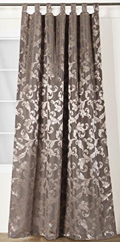 NOVUM fix Vorhang mit Schlaufen * zusätzliches Kräuselband * Dekoschal Jacquard-Gewebe 140x245 cm (BxH) * Braun
