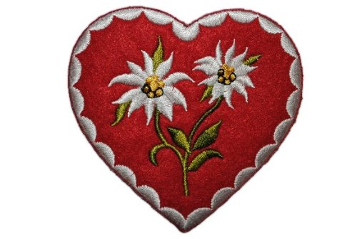 alles-meine.de GmbH Herz mit Edelweiß 7,8 cm * 7,5 cm Bügelbild Aufnäher Applikation Patch Blume