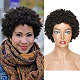 Short Afro Kinky Curly Human Hair Wigs for Black Woman Human Hair Wear and Go Wigs Machine Made Glueless Short Bob Wigs Brazilian Virgin Human Hair Afro Curly Wigs Natural Black Color