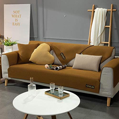 Homeen Funda para sofá, estudio, sala de estar, fundas de sofá de verano, funda de sofá antideslizante, funda de sofá seccional de cuero, color marrón 90 x 70 cm