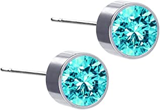 Jewelry مجوهرات Simple Crystal Stud Earrings Round Gemstone Silver Earrings Daily Jewellery for Women Girl Men Teenager,Colour:Pink جواهر سازی (Color : Lake Blue)