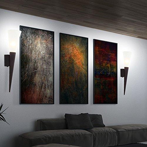 2er Set LED Wand Fackeln Wohn Ess Zimmer Flur Lampen Alabaster Glas Strahler Leuchten Rost Farben