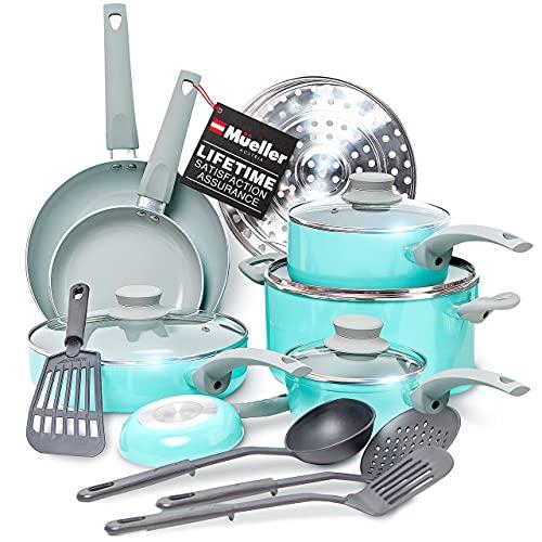 Mueller Pots and Pans Set Non-Stick, 16-Piece Healthy Stone Cookware Set Butter Warmer, Aluminum Body, Deep Fry, Fry Pan, Sauce Pan, Pot, Stainless Steel Steamer, Vac-Free Vented Glass Lids, Turquoise