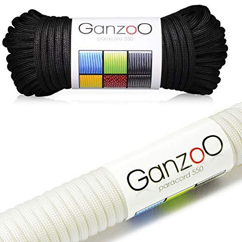 Ganzoo Paracorde 550 Corde, pour Bracelet ou Collier de Chien, 62 mètres, Noir Blanc