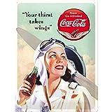 Nostalgic-Art Cartel de Chapa Retro Coca-Cola – Wings Lady – Idea de Regalo Aficionados a la Coke, metálico, Diseño Vintage Decorativo, 30x40x0.2 cm