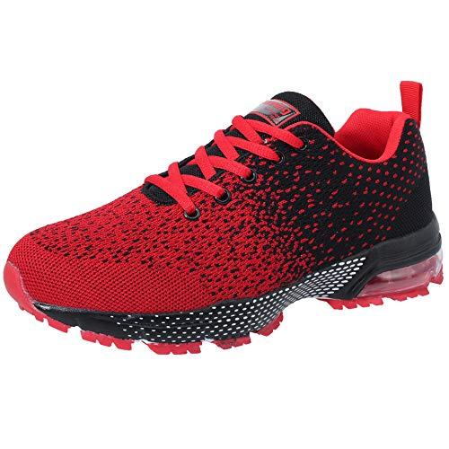 VVQI Laufschuhe Herren Damen Sneaker Sportschuhe Turnschuhe Mode Leichtgewichts Freizeit Atmungsaktive Fitness Schuhe 45 EU 005 3 Rot