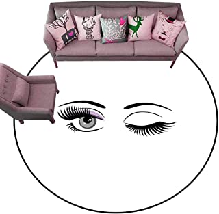Entrance Modern Area Rugs Eyelash,Cartoon Style Dramatic Woman Eyes with Long Lashes Winking Flirting Gesture,Lilac Grey Black Diameter 72