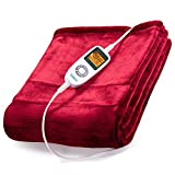 Sable Electric Throw, Blanket Fast-Heating, Full Body Warming ETL Certified, 10 Temperature Settings Auto Off, 50' x 60', Red