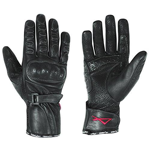 A-Pro Leder Handschuhe Damen Motorrad Roller Protektoren Kalbsleder Schwarz L