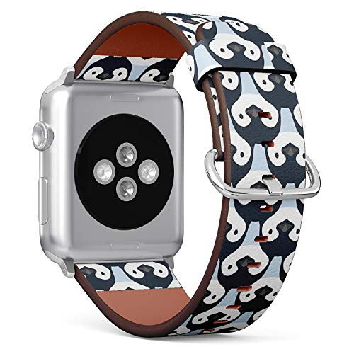 Compatible with Small Apple Watch 38mm & 40mm (All Series) Leather Watch Wrist Band Strap Bracelet with Stainless Steel Clasp and Adapters (Cute Penguin Babies)