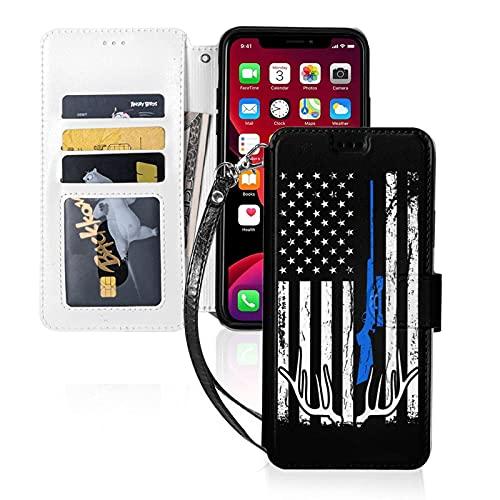 Estuche para teléfono LINGF,Estuche con Bandera Americana de Caza de Ciervos para iPhone 11 Pro Estuche Lindo para Mujeres,Hombres,Billetera,Estuche de Cuero con Correa,Estuche Protector