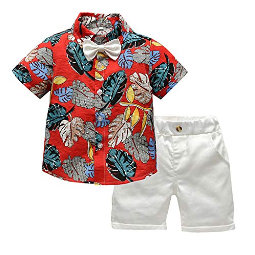 TTLOVE Kleinkind Baby Boy Bekleidung Kurzarm Fliege Gentleman Leaf T-Shirt Tops + Shorts Outfits,Jungen Kinder Sommer Kleidung Set Mode Kurze Und Hosen (rot,100)