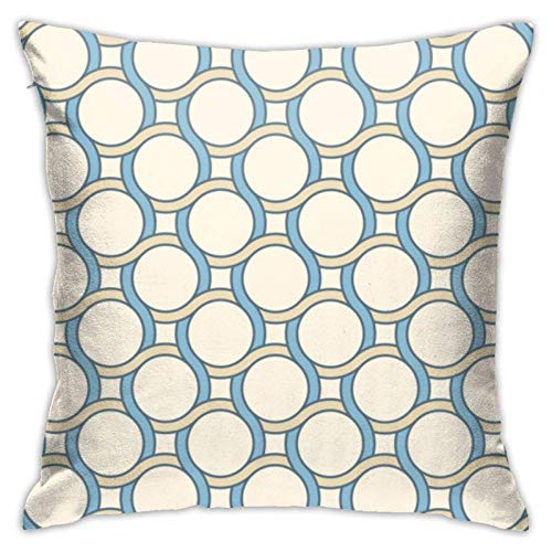N/Q Decorative Soft Ployester Cushion Covers for Sofa Car Pattern with Lines and Circles 45 x 45 cm Square Throw Pillow Covers Pillowcases with Invisible Zipper 1 Pack