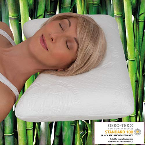 daydream 50x35x10 Kopfkissen Wellenform aus Memory Foam + Bambus-Bezug (P-21100) | Kissen für 80 x 80 cm Bezug | Kopfkissen | Nackenstützkissen | Schlafkissen | Bettkissen | Nackenkissen | Testsieger