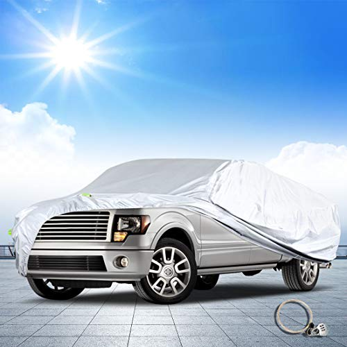 """Q QUNSUNUS Ford Truck Cover for F-150 2001-2019 Super Crew Cab 5.5Ft Short Bed Custom Fit Heavy Duty All Weather Waterproof Pickup Truck Protection(Fit Up to 232"""")"""