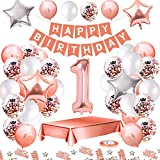 MMTX Globos De Cumpleaños 1 Años Feliz Cumpleaños Decoracion Regalo 18 Regalos Cumpleaños Mujer Oro Rosa con Guirnalda Banner De Cumpleaños para Fiesta,Manteles,Confetti,Globos de Látex Impresos
