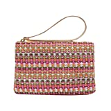 FENICAL Straw Zipper Clutch Bag Bohemian Wristlet Women Summer Beach Purse and Handbag (Size S)