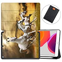 """MAITTAO New iPad 7th Generation 10.2"""" Case 2019 with Apple Pencil Holder, Shockproof Soft TPU Back Cover with Auto Sleep/Wake, Trifold Stand Smart Case Fit iPad 10.2 inch,Akhal-Teke Horse 15"""