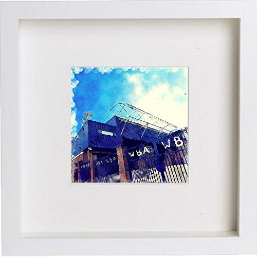 L Lumartos Wall Art Watercolor Print van West Bromwich Albion Football Club, The Hawthorns   met stijlvolle eigentijdse 23cm x 23cm Frame 206, wit, One Size