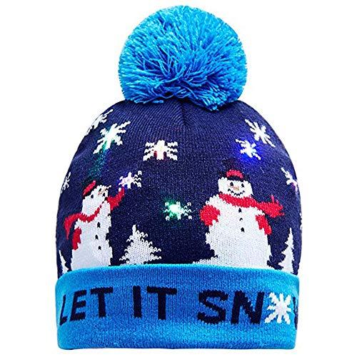 Longra led-kerstmuts, beanie, modieus, licht-up, gebreid, elk, bedrukt, wintermuts, windbestendig, skihat