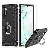 LeYi Hülle Galaxy Note 10 Handyhülle,360 Grad Militärische Rüstung Cover TPU Magnetische Bumper Schutzhülle mit 3D PET Schutzfolie für Hülle Samsung Galaxy Note 10 Handy Hüllen Schwarz