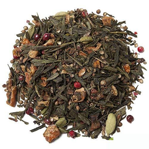 Aromas de Té - Té Verde Arcoiris - Elaborado con Ingredientes Naturales - Con Cardamomo, Canela, Trozos de Manzana, Rodajas de Naranja, Cilantro, Clavo y Pimienta Rosa -100 gr