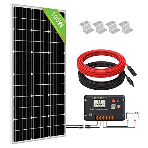 ECO-WORTHY 100W 12 Kit Panel Solar: 1pc Panel Solar 100W + Regolatore 30A + Cavi Solar para Autocaravan/Barche
