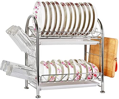 Almacenamiento de cocina, escurridores para platos de 2 niveles de acero inoxidable para cocina, escurridores para secar platos, estante para platos, cocina, marco compacto, portavasos, accesorios